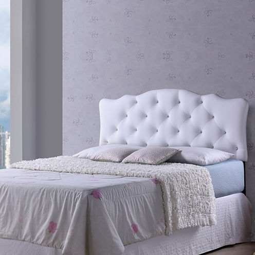 Baxton Studio Rita Faux- Leather Upholstered Button-Tufted Scalloped Headboard