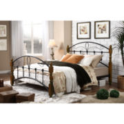 Baxton Studio Nova Vintage Style Metal and Wood Platform Bed