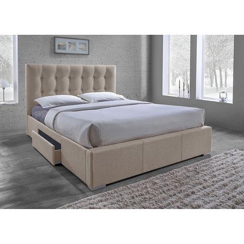 Baxton Studio Sarter Contemporary Grid-Tufted Upholstered 2-Drawer Storage Bed
