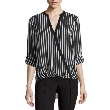 jcpenney.com | nicole by Nicole Miller® Long-Sleeve Striped Surplus Top