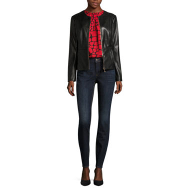 jcpenney.com | Liz Claiborne® Faux Leather Jacket, Tortoise Blouse or Skinny Jeans