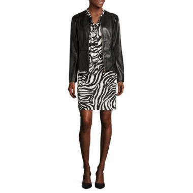 jcpenney.com | Liz Claiborne® Pleather Jacket or Sleeveless Bow-Front Dress