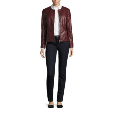 jcpenney.com | Liz Claiborne® Faux Leather Jacket, Brutton Front Shirt or Skinny Jeans