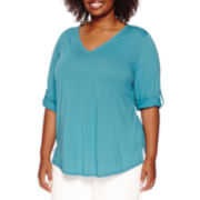 Liz Claiborne® 3/4-Sleeve V-Neck Tunic - Plus