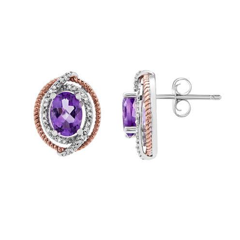 1/10 CT. T.W. Oval Purple Amethyst 14K Gold Over Silver Stud Earrings