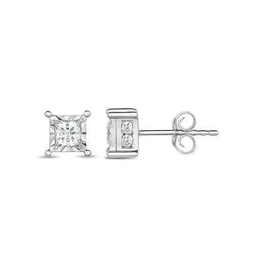 Trumiracle True Miracle 1 CT. T.W. Princess White Diamond 14K Gold Stud Earrings