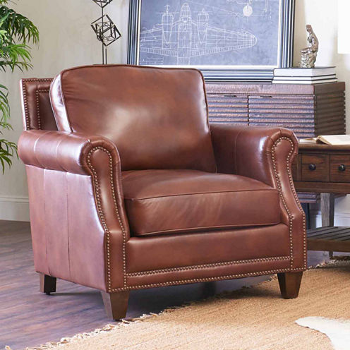 Yule Roll-Arm Leather Chair