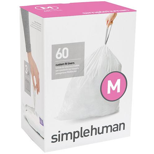 simplehuman® Custom Fit Trash Can Liners Code M - 60-Pack