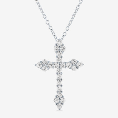 LIMITED TIME SPECIAL! Womens Lab Created White Sapphire Sterling Silver Cross Pendant Necklace - JCPenney