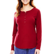 Liz Claiborne® Long-Sleeve Henley Sleep Tee