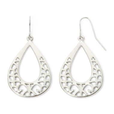jcpenney.com | Decree® Silver-Tone Cutout Teardrop Earrings