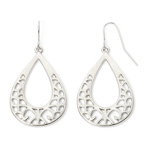 Decree® Silver-Tone Cutout Teardrop Earrings
