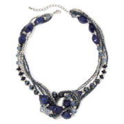 Mixit™ Blue and Silver-Tone Bead Knot-Style Necklace