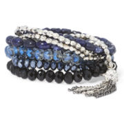 Mixit™ Blue and Silver-Tone Bead Multi-Row Tassel Stretch Bracelet