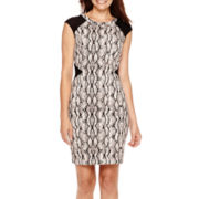 Worthington® Cap-Sleeve Snake Print Sheath Dress