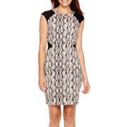 Worthington® Cap-Sleeve Snake Print Sheath Dress