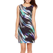 Worthington® Sleeveless Print Scuba Shift Dress
