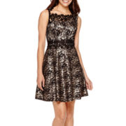One by Eight Sleeveless Lace Fit-and-Flare Dress