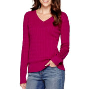 St. John's Bay® Long-Sleeve Essential V-Neck Sweater - Tall