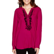 St. John's Bay® Long-Sleeve Embroidered Tunic - Tall