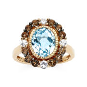 CLOSEOUT! Le Vian® Lab-Created Blue Topaz, Genuine Smoky Quartz and White Sapphire Ring