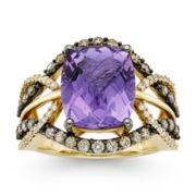 CLOSEOUT! Le Vian® Genuine Cushion-Cut Amethyst and Diamond Ring