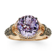 CLOSEOUT! LeVian Grand Sample Sale Genuine Amethyst and 1/2 CT. T.W. White and Chocolate Diamond® Ring