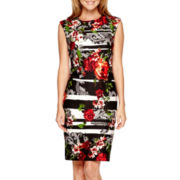 Liz Claiborne® Sleeveless Mixed Print Sheath Dress