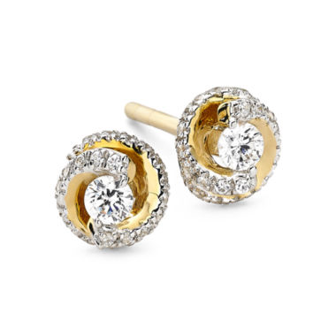 jcpenney.com | 1/4 CT. T.W. Diamond 10K Yellow Gold Swirl Stud Earrings