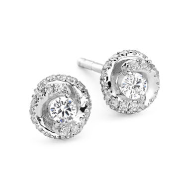 jcpenney.com | 1/4 CT. T.W. Diamond 10K White Gold Swirl Stud Earrings