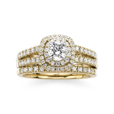 jcpenney.com | Modern Bride® Signature 1 CT. T.W. Diamond 14K Yellow Gold Bridal Ring Set