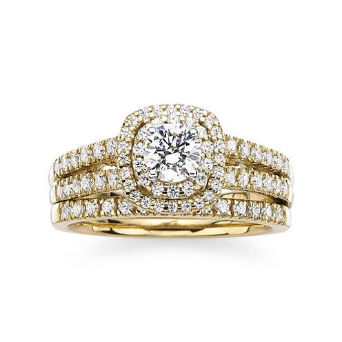 Modern Bride® Signature 1 CT. T.W. Diamond 14K Yellow Gold Bridal Ring Set