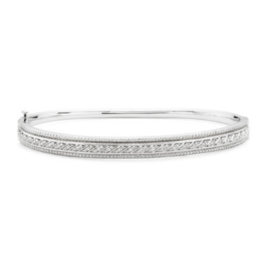 jcpenney.com | 1/10 CT. T.W. Diamond Sterling Silver Hinged Bangle Bracelet