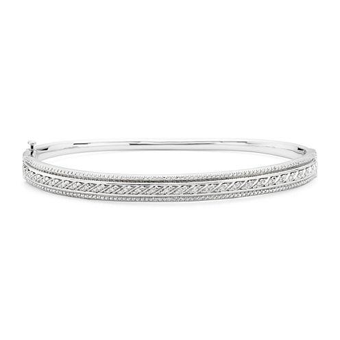 1/10 CT. T.W. Diamond Sterling Silver Hinged Bangle Bracelet