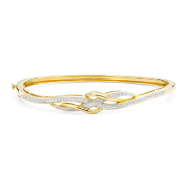 jcpenney.com | 1/10 CT. T.W. Diamond 14K Yellow Gold Over Sterling Silver Crossover Hinged Bangle Bracelet