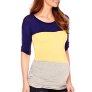 Maternity Elbow-Sleeve Side-Ruched Dolman T-Shirt - Plus
