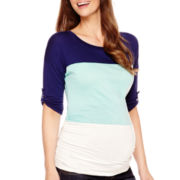 Maternity Elbow-Sleeve Side-Ruched Dolman T-Shirt