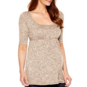 Maternity Elbow-Sleeve Knit Babydoll Top