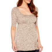 Maternity Elbow-Sleeve Knit Babydoll Top