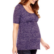 Maternity Elbow-Sleeve Knit Babydoll Top - Plus