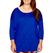 City Streets® 3/4-Sleeve Solid Knit Top - Juniors Plus