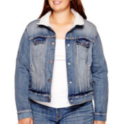 Arizona Sherpa-Lined Denim Jacket - Juniors Plus