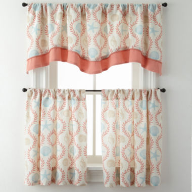 jcpenney.com | Sea Scroll Rod-Pocket Kitchen Curtains