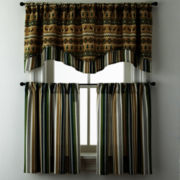 Lodge Elements or Forest Stripe Rod-Pocket Kitchen Curtains