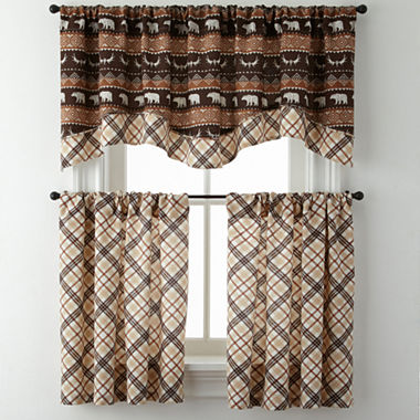 Curtain Rods bear curtain rods : Bear Trail or Cabin Plaid Rod-Pocket Kitchen Curtains - JCPenney