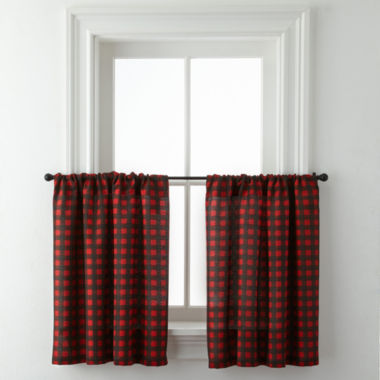 jcpenney.com | Jackson Plaid Rod-Pocket Window Tiers