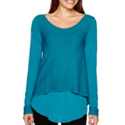 Worthington® Long-Sleeve Layered High-Low Sweater - Tall