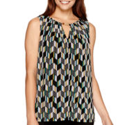 Worthington® Sleeveless Metal-Trim Chiffon Top