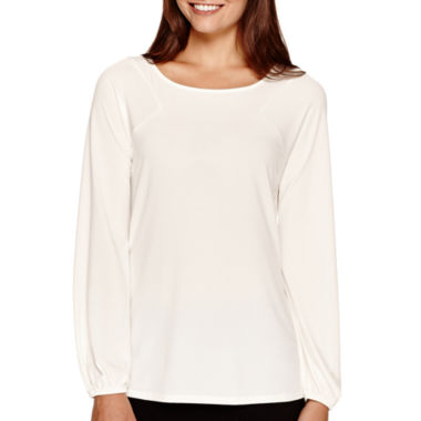 jcpenney.com | Worthington® Long-Sleeve Boatneck Blouson Top