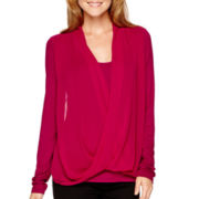 Worthington® Long-Sleeve Crossover Top
